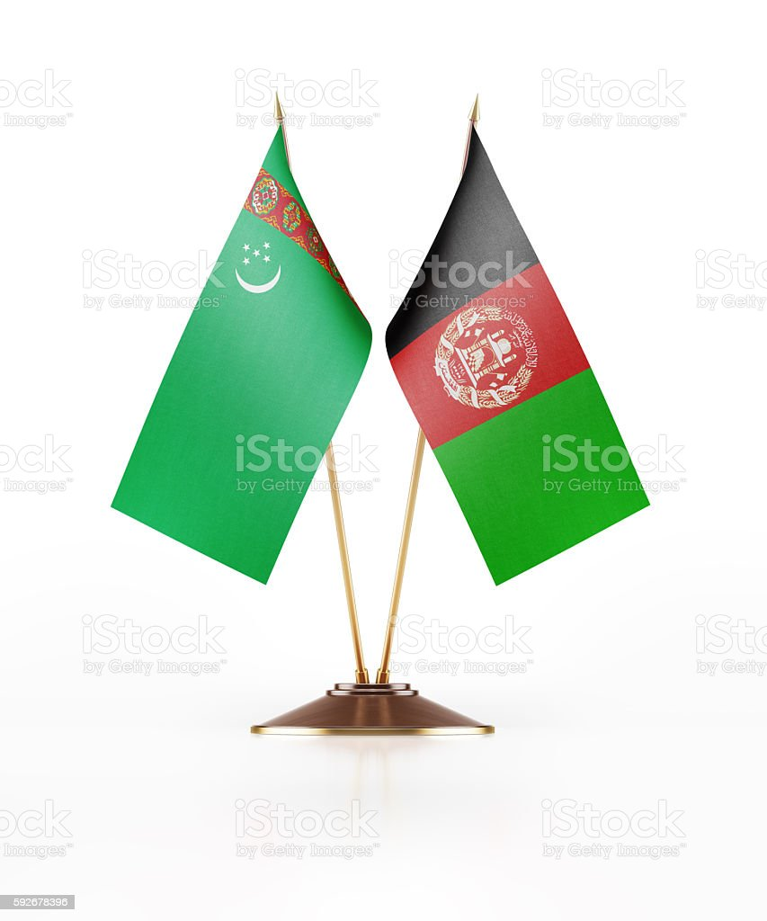 Miniature Flag of Turkmenistan and Afghanistan stock photo