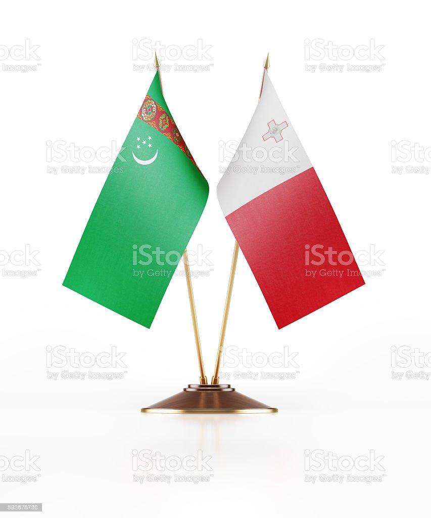 Miniature Flag of Turkmenistan and Malta stock photo