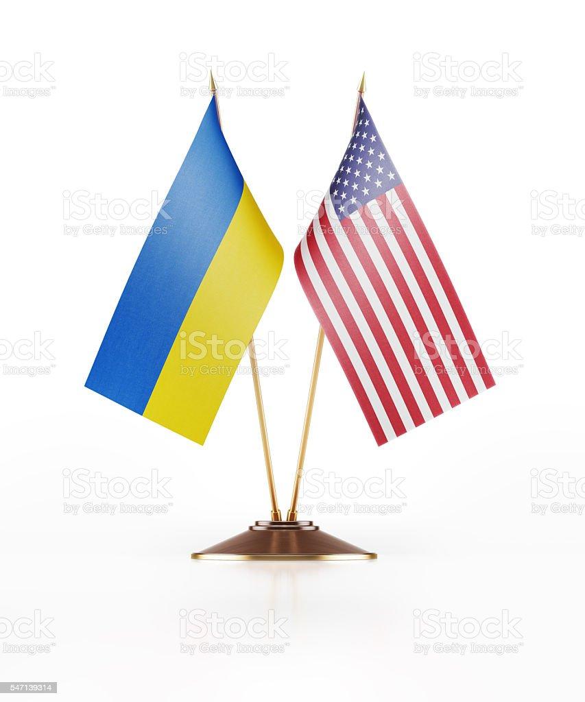 Miniature Flag of Ukraine and United States of America stock photo