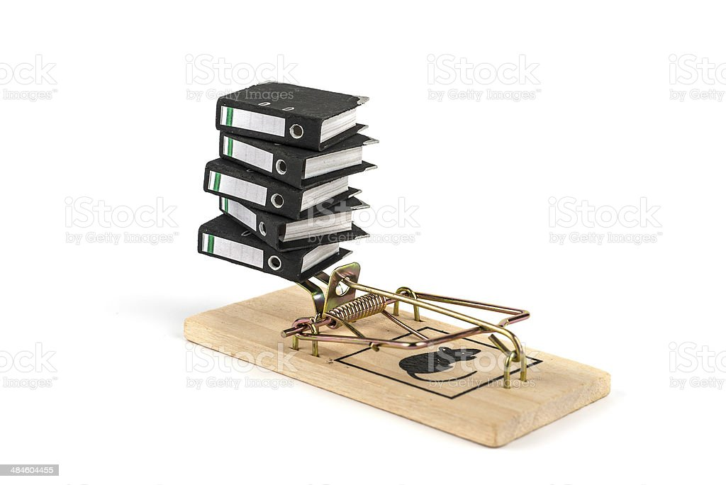 miniature folders in a mouse trap stock photo