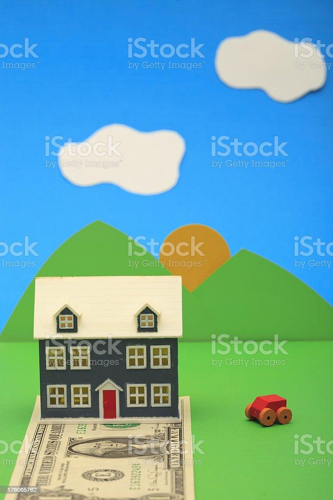Miniatur-Haus auf einer ein-dollar-Schein – Foto