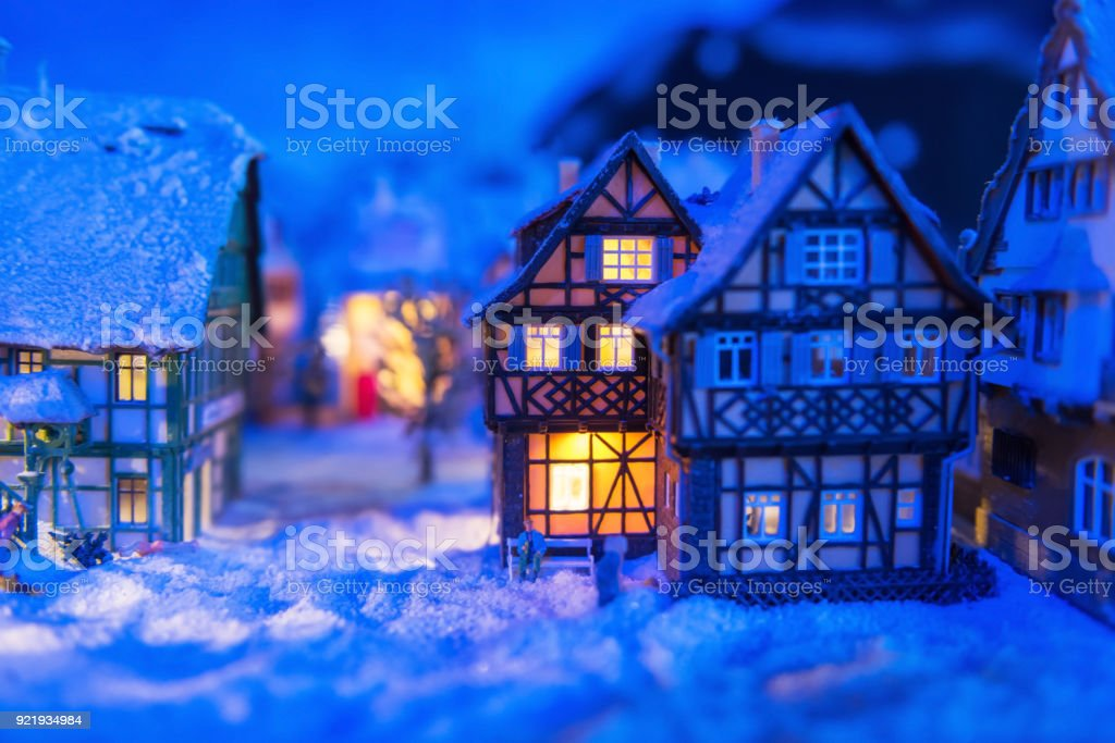 miniature houses in village at winter stock photo