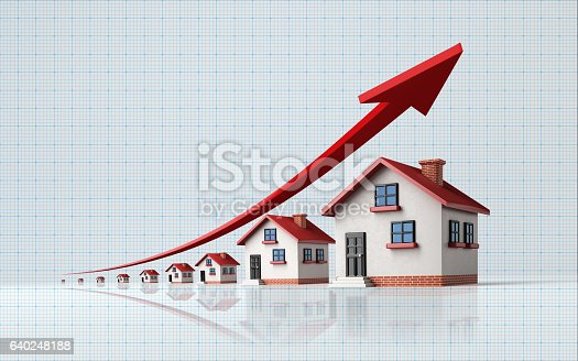 istock Miniature Houses on  Blue Graph Paper 640248188