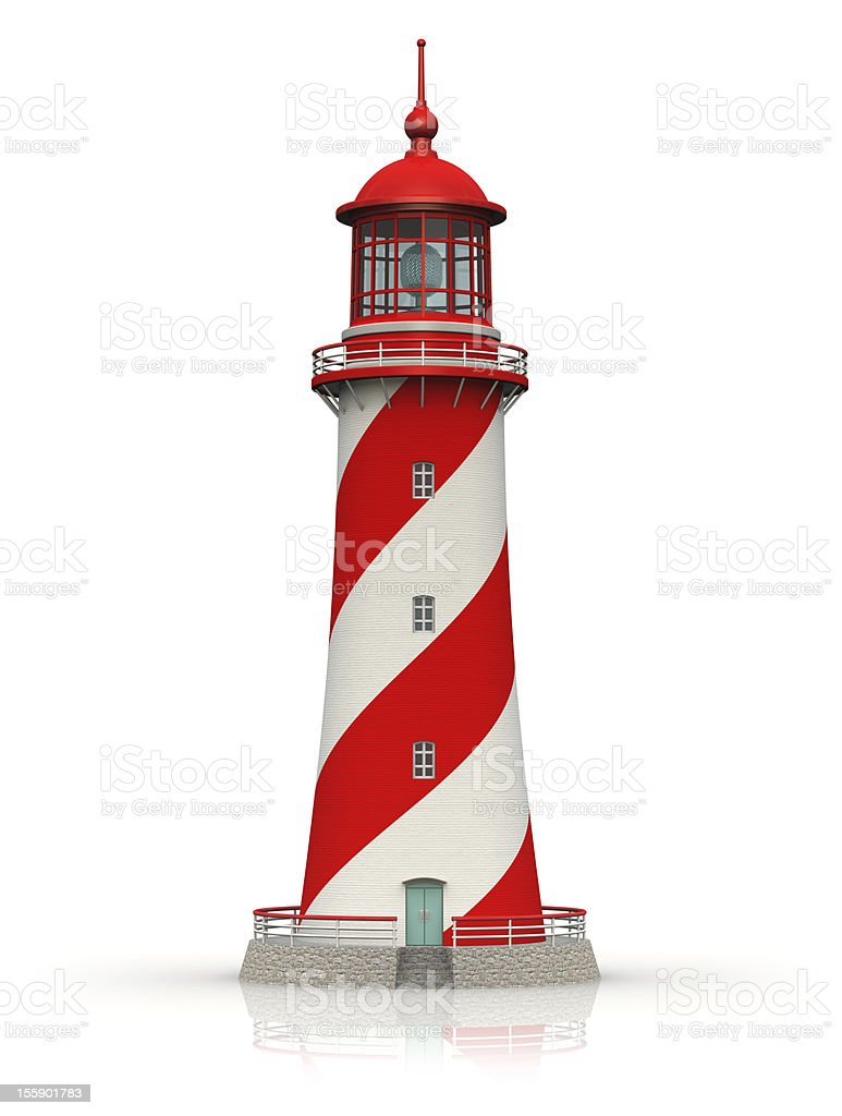 Miniature illustrated red lighthouse over a white background stock photo