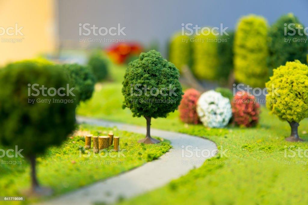 Miniature Landscape of a park stock photo