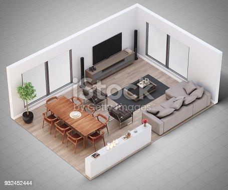 Miniature model of a modern living room.