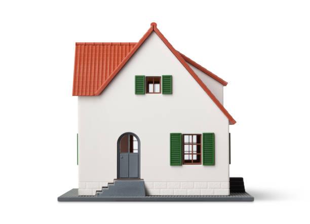 miniatur-musterhauses auf weißem hintergrund - hausmodell stock-fotos und bilder
