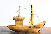 Miniature of a wooden trawler commonly found at handicraft fairs in Brazilian coastal cities