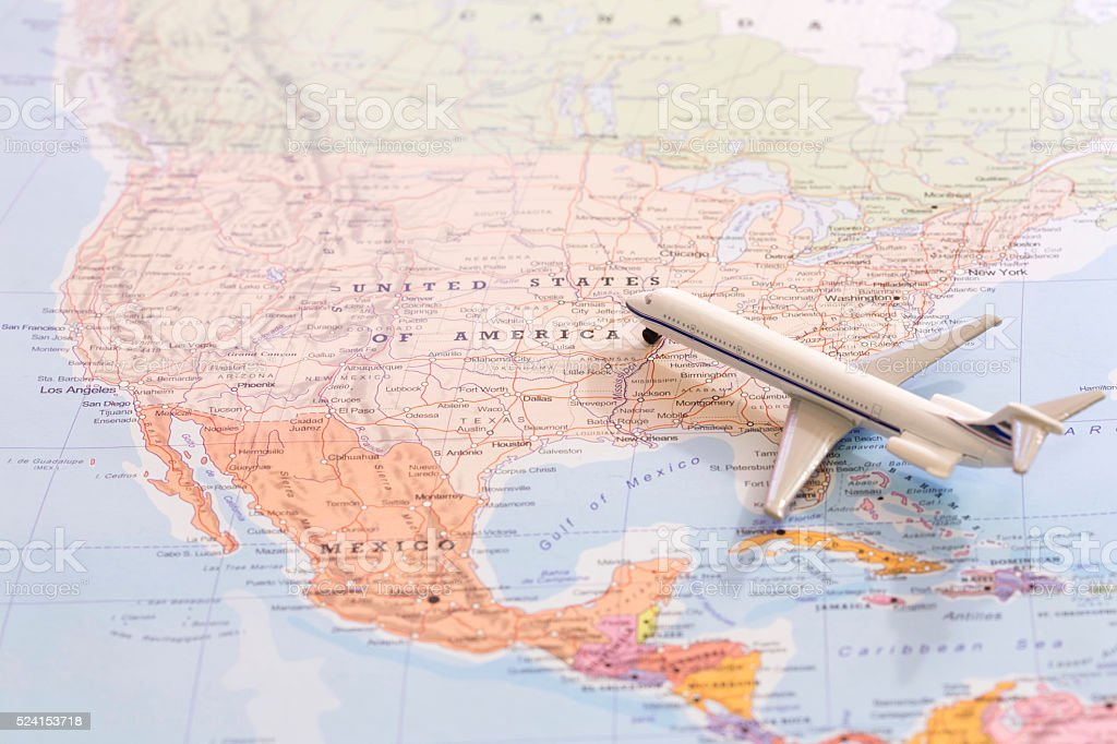 Miniature Of Passenger Airplane On A Map Travel Destination Usa ...