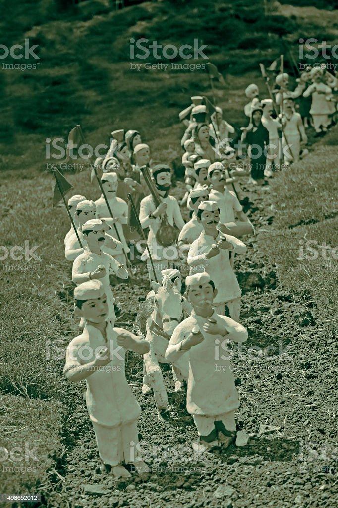 Miniature of Wayfarers, Palakhi, India stock photo