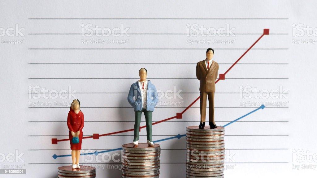 Miniatur-Menschen stehen auf einem Haufen von Graphen und Münzen auf einem weißen Hintergrund. Die Idee einer wachsenden Einkommensunterschiede. – Foto