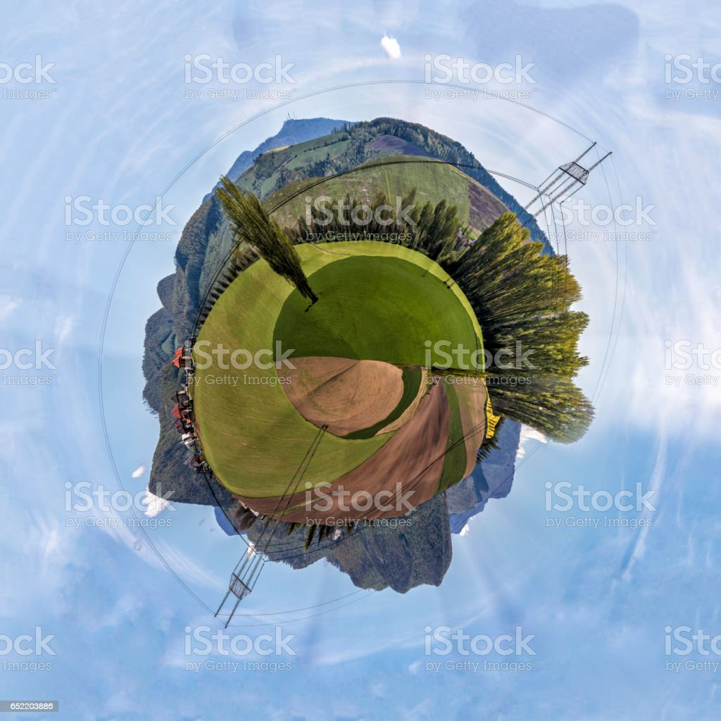 Miniature planet of valley between mountains stock photo