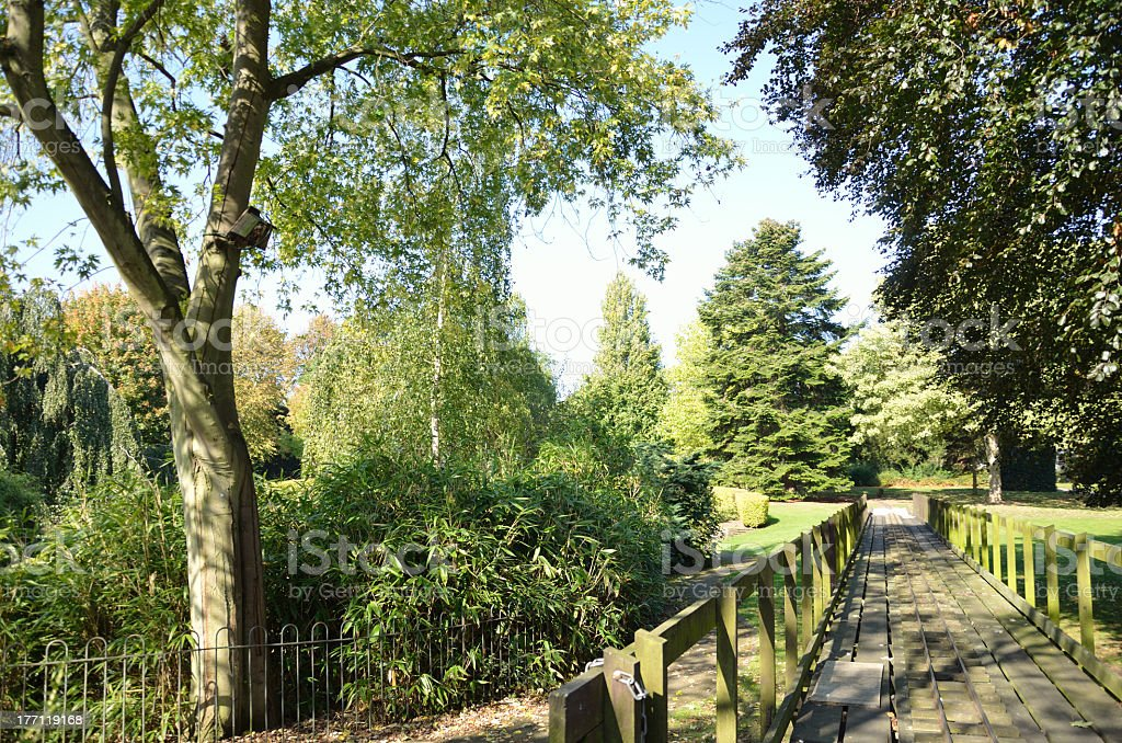 Miniature Railway Track and Bridge in Chester Park royalty-free stock photo