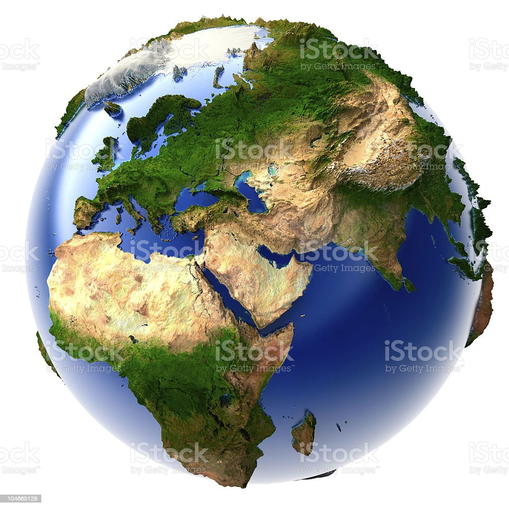 Miniature real Earth stock photo