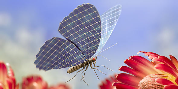 A conceptual image of a life-size robotic butterfly with solar panels for wings flying in mid-air flying towards an open red flower. Shot with a macro lens, with shallow depth of field and motion blur to the edges of the wings.