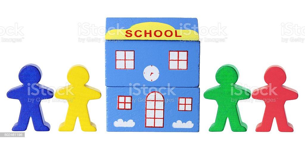 Miniature School and Figurines stock photo