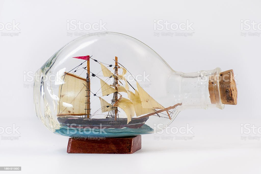 Miniature ship inside a bottle stock photo