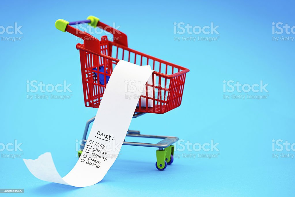 Miniature shopping cart holds list of dairy necessities royalty-free stock photo