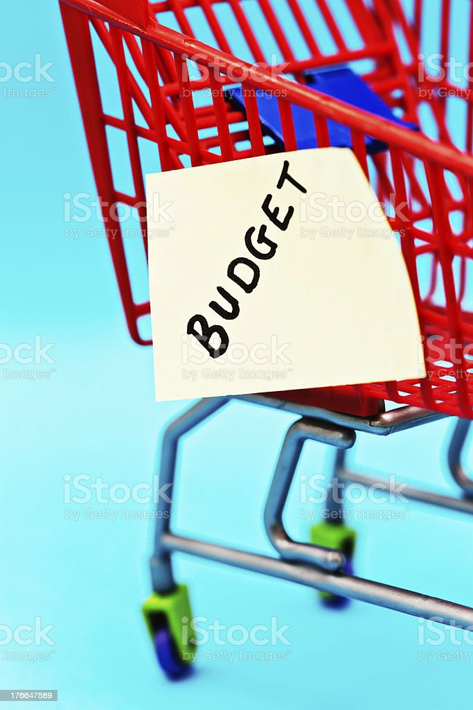Miniature shopping cart with label saying BUDGET royalty-free stock photo
