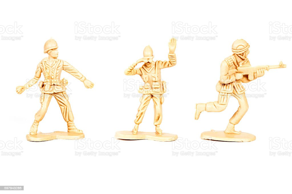 miniature  soldiers toy  on white background foto royalty-free