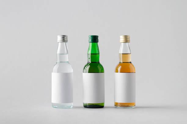 Miniature Spirits / Liquor Bottle Mock-Up - Three Bottles. Blank Label stock photo