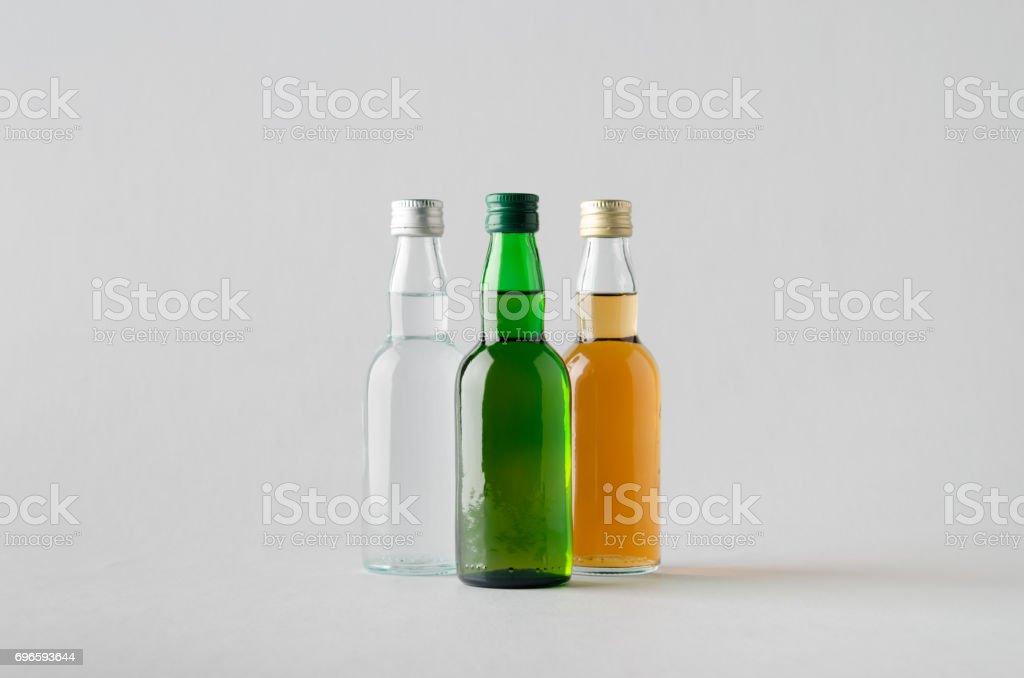 Miniature Spirits / Liquor Bottle Mock-Up - Three Bottles stock photo