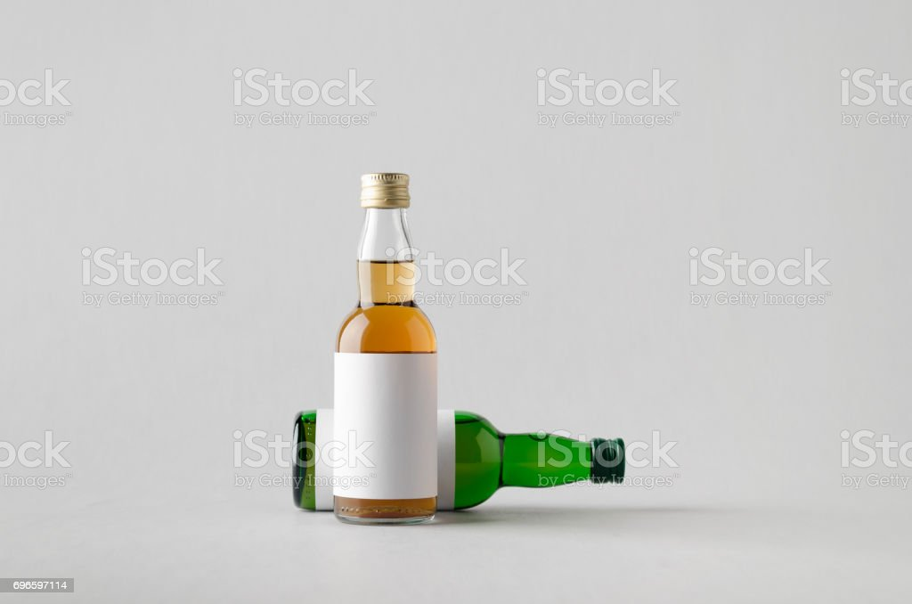 Miniature Spirits / Liquor Bottle Mock-Up - Two Bottles. Blank Label stock photo