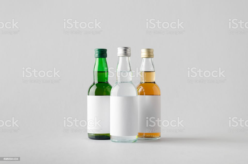 Miniature Spirits / Liquour Bottle Mock-Up - Three Bottles. Blank Label stock photo