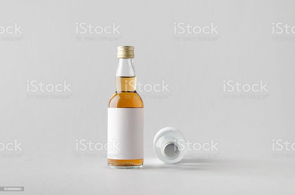 Miniature Spirits/Liquour Bottle Mock-Up - Two Bottles. Blank La stock photo