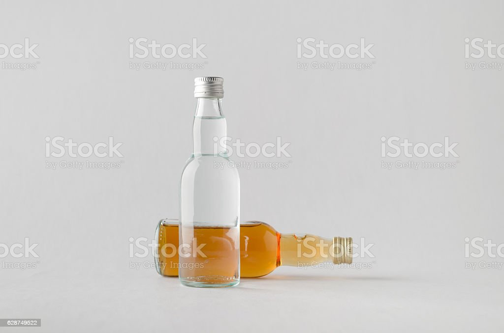 Miniature Spirits/Liquour Bottle Mock-Up - Two Bottles stock photo