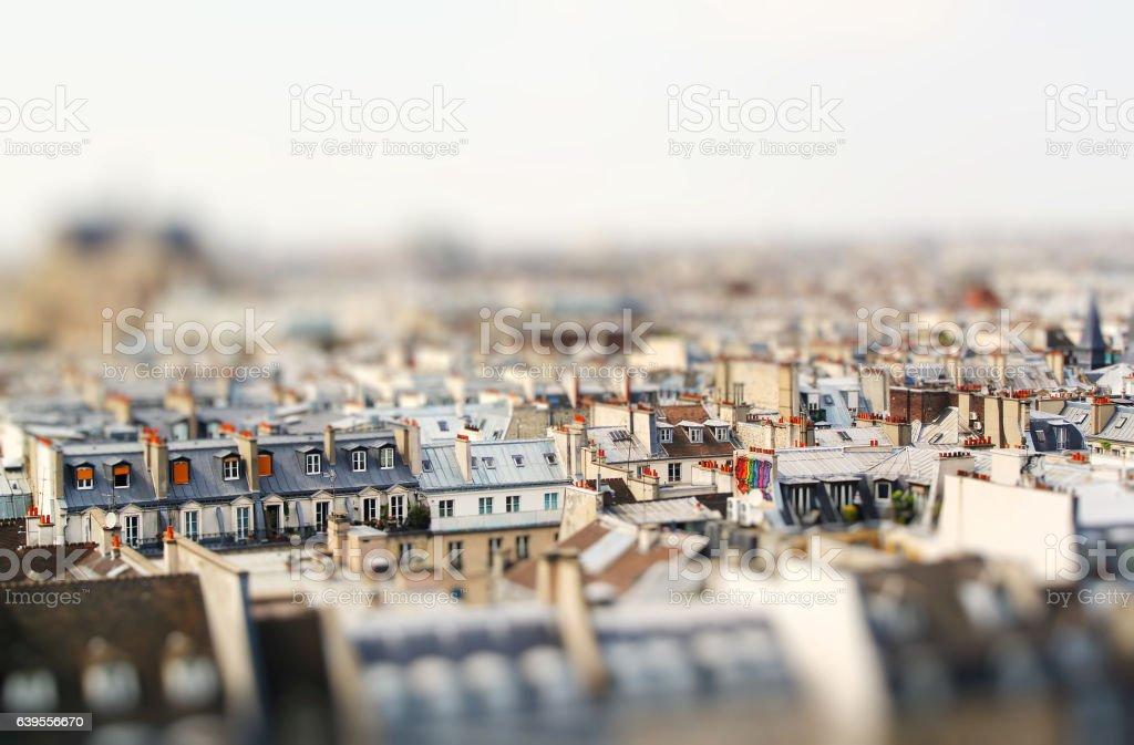 Miniature tilt shift lens effect of architecture of stock photo