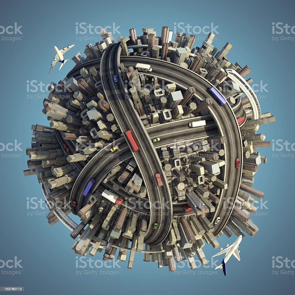 Miniature urban and traffic globe isolated stock photo