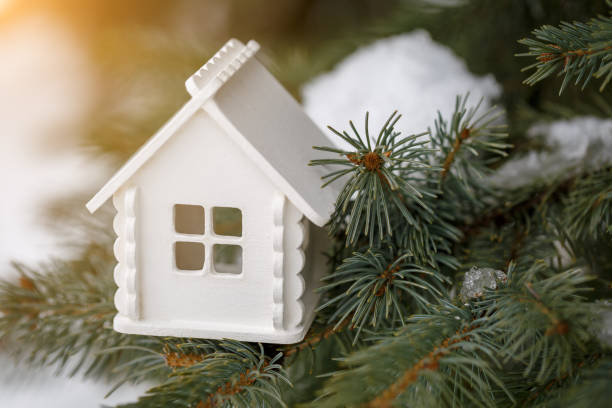 Miniature white house is on a pine branch in winter stock photo