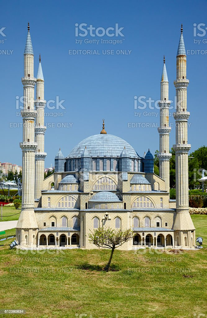 Miniaturk, Istanbul. The domes of Selimiye Mosque in Edirne, Turkey. stock photo