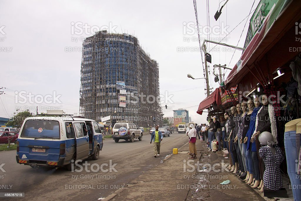 Minibus and dummies at Equatorial Guinea Street royalty-free stock photo