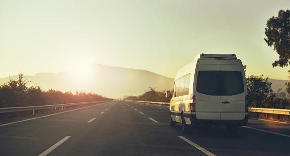 minibus in mountains