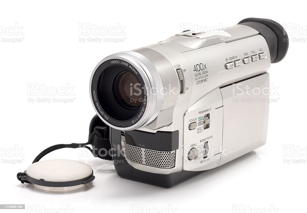 MiniDV Camcorder electronic home video recording device on white stock photo