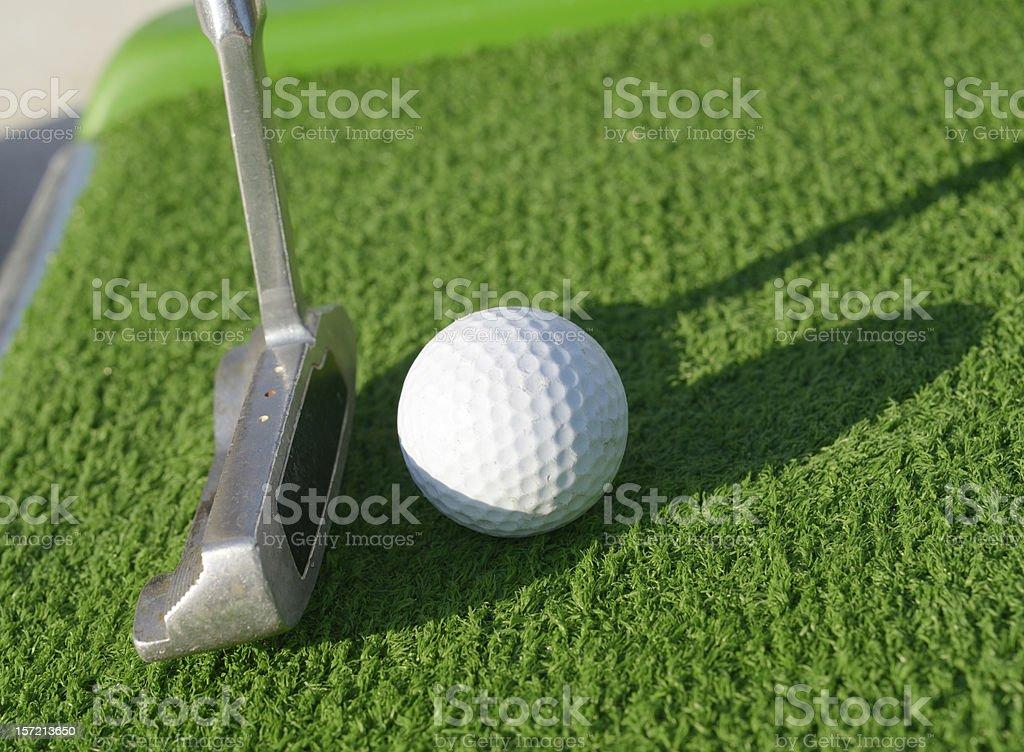 Minigolf ball on a course royalty-free stock photo