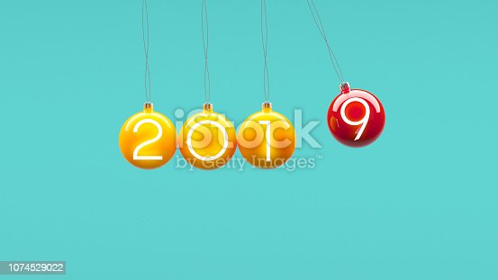 istock Minimal 2019 new year concept: Christmas balls on blue background. 1074529022