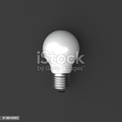 istock Minimal 3d illustration - white bulb on gray background. 918645852