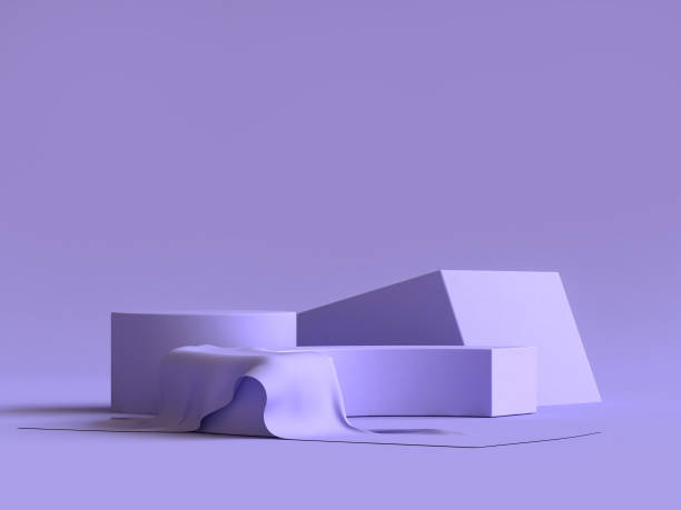 minimal abstract background 3d rendering abstract geometric shape group set violet-purple - still life stock pictures, royalty-free photos & images