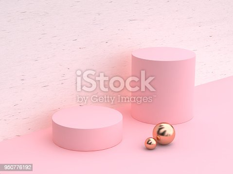 istock minimal abstract cylinder shape white wood pink wall scene  3d rendering 950776192