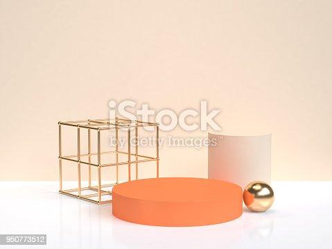 istock minimal abstract orang gold geometric shape form white cream scene 3d rendering 950773512