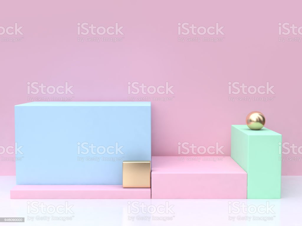 minimal abstract pink background blue square 3d rendering stock photo