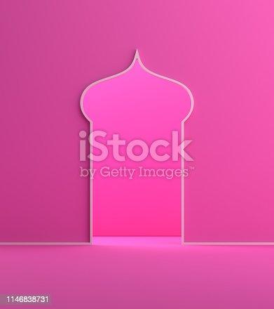 1142727715 istock photo Minimal arabic window door pink pastel background. 1146838731