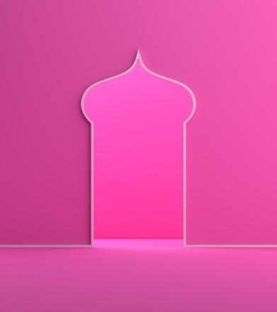 1142326460 istock photo Minimal arabic window door pink pastel background. 1146838731