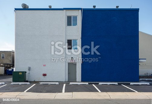 Side of a minimal building shot