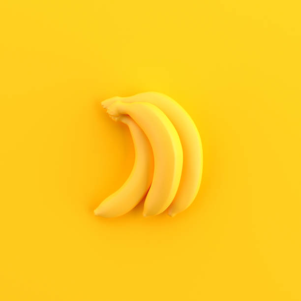 minimal bananas - isolated colour stock photos and pictures