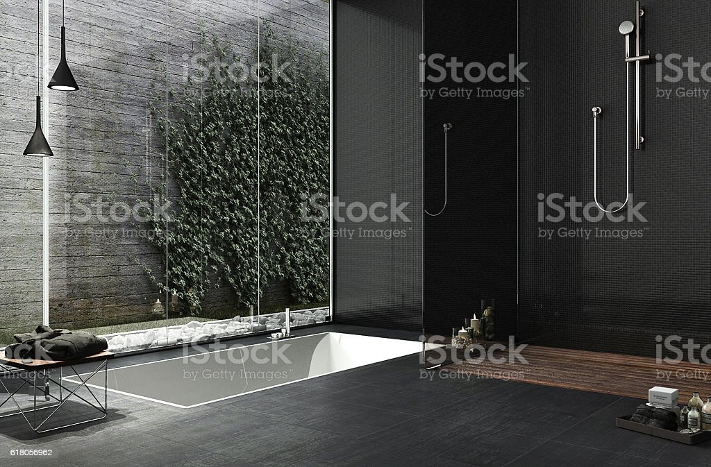 Minimal bathroom design - foto de acervo