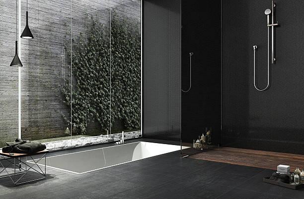 minimal bathroom design - minimalbadezimmer stock-fotos und bilder